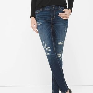 WHBM Women's Destructed Sequin Skinny Jeans
